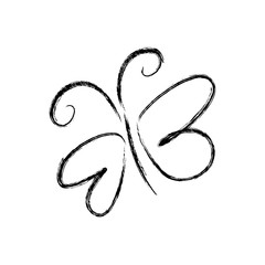 blurred silhouette sketch butterfly insect vector illustration