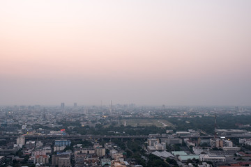 cityscape of bangkok, Thailand with Pastel color pink and purple sky with sunset