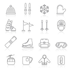 ski and snowboard equipment icons - vector icon set