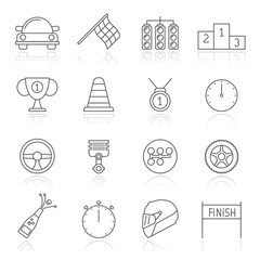 motor sports and racing icons - vector icon set