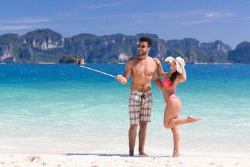 Young People On Beach Summer Vacation, Couple Taking Selfie Photo Seaside Blue Water Sea Ocean Holiday Travel