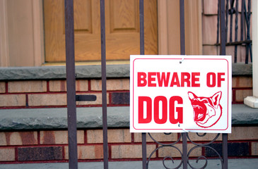 Beware of Dog Sign on Gate