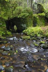 Krinice River flowing into a rock tunnel, Kyov, Ceske Svycarsko / Bohemian Switzerland National Park, Czech Republic, September 2008