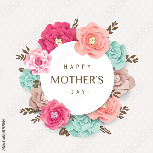 Happy Mothers Day Card With Beautiful Blossom Flowers Stock Image