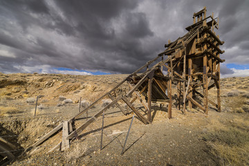 Old gold mining sluice life head frame in the Nevada desert.