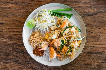 Shrimp Pad Thai, Thai Food, Thailand's national dishes on wood background