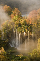 Veliki Prstavci waterfalls close to Gradinsko lake, dawn, Upper Lakes, Plitvice Lakes NP, Croatia, October 2008