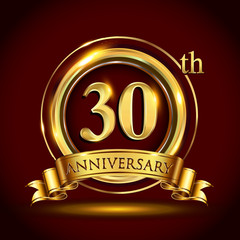 30th golden anniversary logo, thirty nine years birthday celebration with gold ring and golden ribbon.