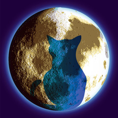 Cat and Moon  - vector illutration