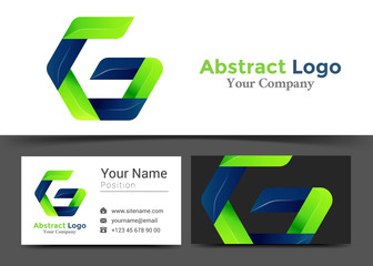 Letter G Corporate Logo and Business Card Sign Template. Creative Design with Colorful Logotype Visual Identity Composition Made of Multicolored Element. Vector Illustration