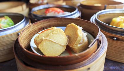 Dim Sum Thai food closeup image with soft-focus and over light