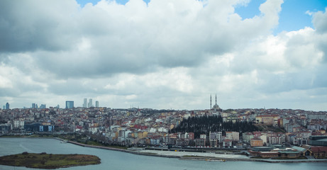 Golden Horn from Eyup, view from Pierre Loti cafe in Istanbul city, Turkey
