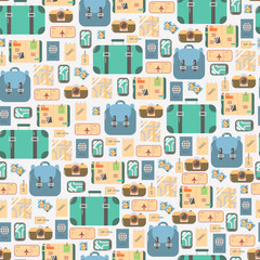 Travel Seamless Pattern. Tourist Vacation Elements Background.