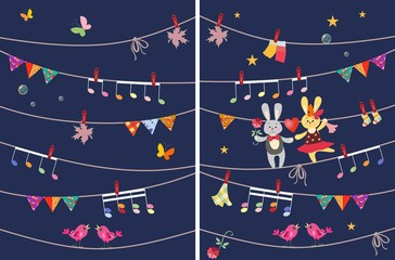 Greeting card with cute dancing bunnies, butterflies, garland, musical notes, birds, maple leaves. Design elements. Vector image. Wrapping, packaging, poster. Book illustration.