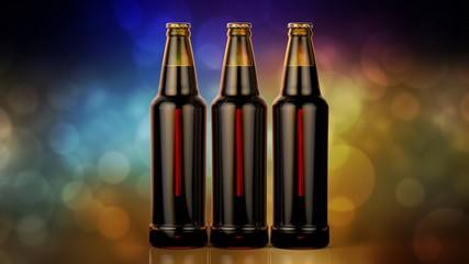 Bottles of beer on a bokeh background. 3d illustration.