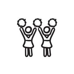 Cheerleaders sketch icon.