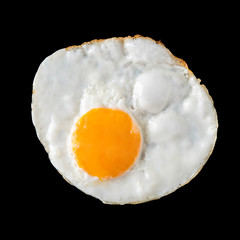 Door stickers Egg top view of fried eggs on black background