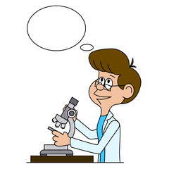 Ridiculous caricature the biologist looks in a microscope a vector illustration.