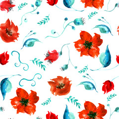 Watercolor seamless vintage pattern of drawings of red poppy flower, roses, leaves, floral pattern. Fashionable design