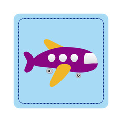 color toy airplane fly picture icon, vector illustration design