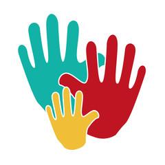 hand human silhouette colors community icon vector illustration design