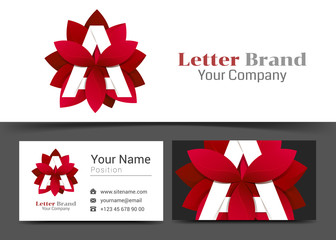 Creative Red Leaf Letter A Corporate Logo and Business Card Sign Template. Creative Design with Colorful Logotype Visual Identity Composition Made of Multicolored Element. Vector Illustration
