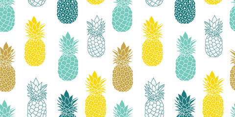 Fresh Blue Yellow Pineapples Vector Repeat Seamless Pattrern in Grey and Yellow Colors. Great for fabric, packaging, wallpaper, invitations.
