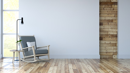 White room interior, lounge chair on wood floor and white wall /3d render