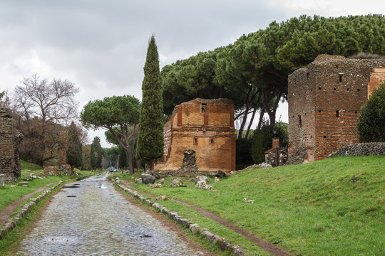 Ruins of funeral monuments along ancient Appian Way near Rome, Italy