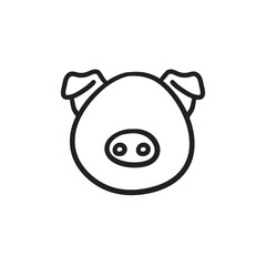 Pig head sketch icon.