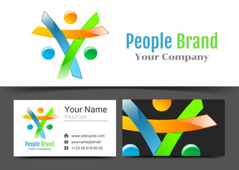 Social Media Network People Corporate Logo and Business Card Sign Template. Creative Design with Colorful Logotype Visual Identity Composition Made of Multicolored Element. Vector Illustration