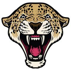 Roaring leopard head