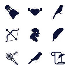 Set of 9 feather filled icons
