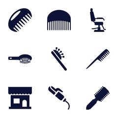 Set of 9 comb filled icons