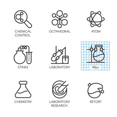 Icons of chemistry, experiments, research concept
