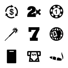 Set of 9 Casino filled icons