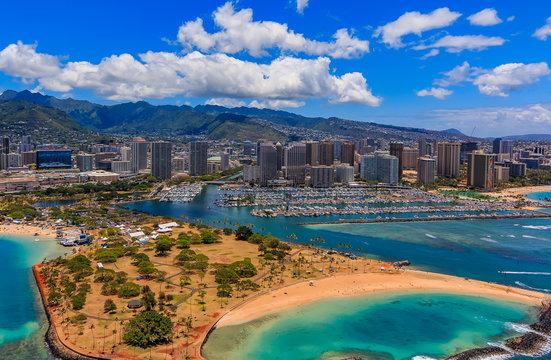 Aerial view of Ala Moana Beach Park in Honolulu Hawaii