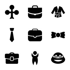 Set of 9 suit filled icons