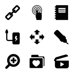 Set of 9 interface filled icons