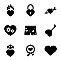 Set of 9 passion filled icons