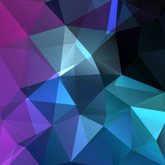 Abstract mosaic background. Triangle geometric background. Design elements. Vector illustration. Blue, purple colors.