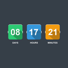 Flip counter in flat design. Countdown days, hours, minutes. Vector illustration