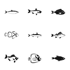 Ocean fish icons set, simple style