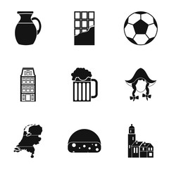 Attractions of Holland icons set, simple style