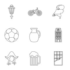Tourism in Holland icons set, outline style