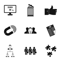 Employee icons set, simple style