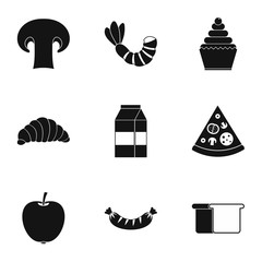 Morning breakfast icons set, simple style