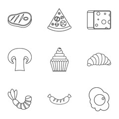 Brunch icons set, outline style