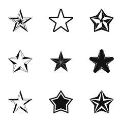 Types of stars icons set, simple style