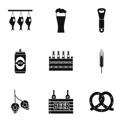 Beer festival icons set, simple style
